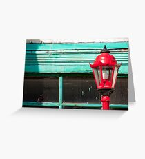 Red Street Lamp Greeting Card