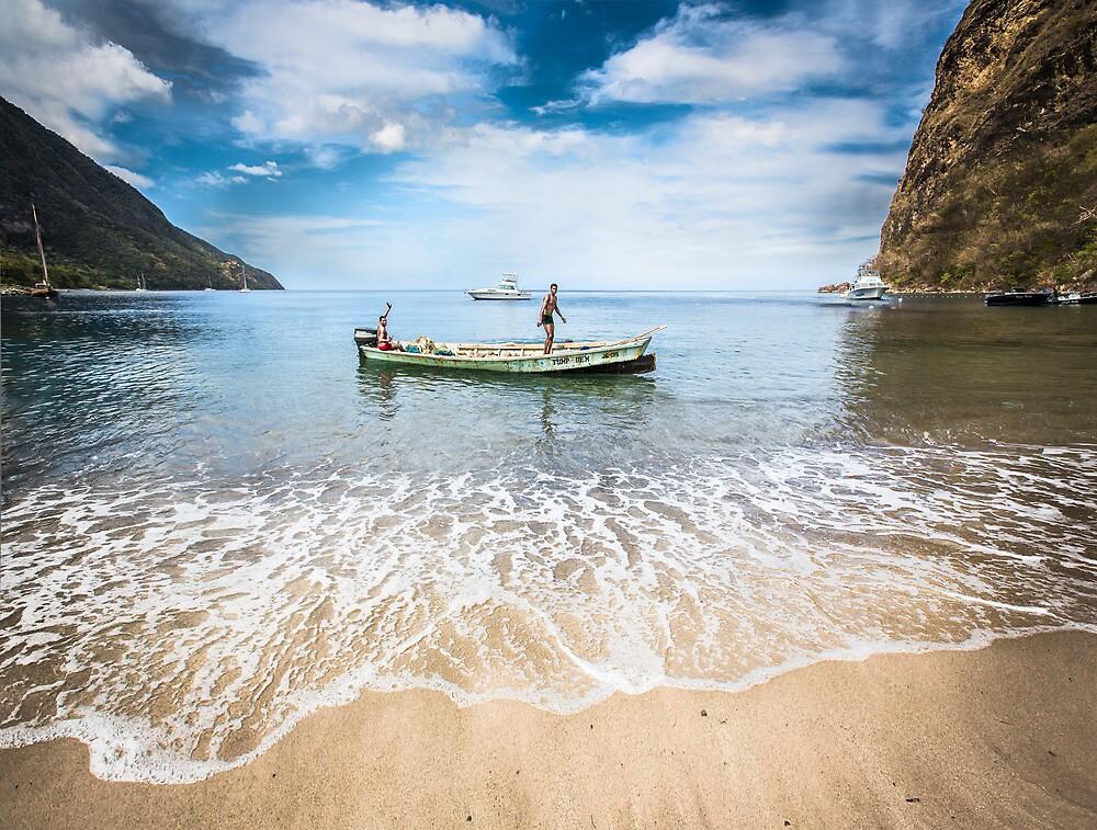 Caribbean fishermen Sugar Beach St Lucia by Heather Buckley by Heather Buckley