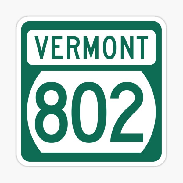 Vermont State Route 802 (Area Code 802) Sticker