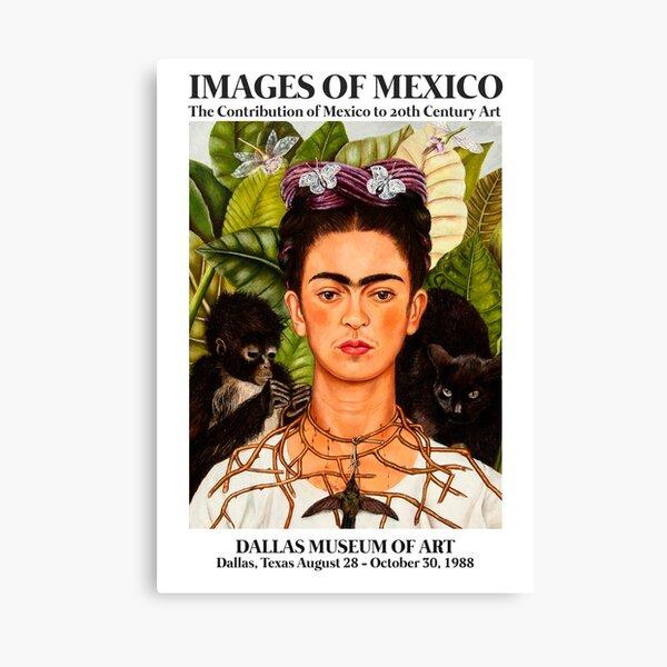 """Póster de arte de la exposición de Frida Kahlo - """"Autorretrato con collar de espinas y colibrí"""" 1988 Lienzo"""