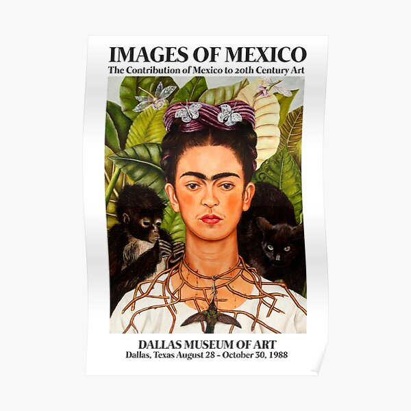 "Frida Kahlo Exhibition Art Poster - ""Self-Portrait with Thorn Necklace and Hummingbird"" 1988 Poster"
