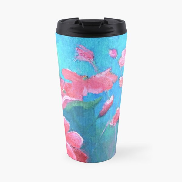 Painting of pink impatiens flowers on blue background Travel Mug