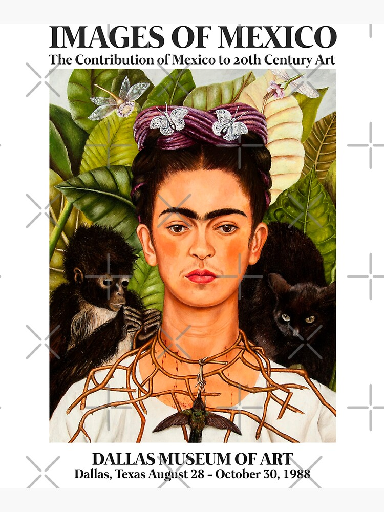 """Frida Kahlo Exhibition Art Poster - """"Self-Portrait with Thorn Necklace and Hummingbird"""" 1988 by franciscouto"""