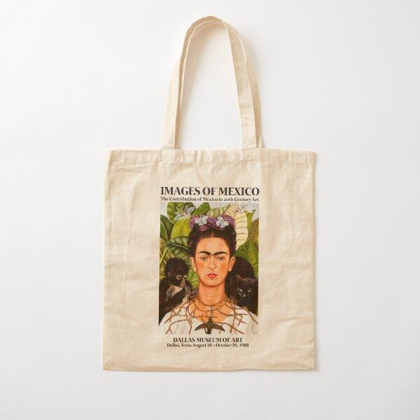 """Affiche d'art de l'exposition Frida Kahlo - """"Autoportrait avec collier d'épine et colibri"""" 1988 Tote bag classique"""