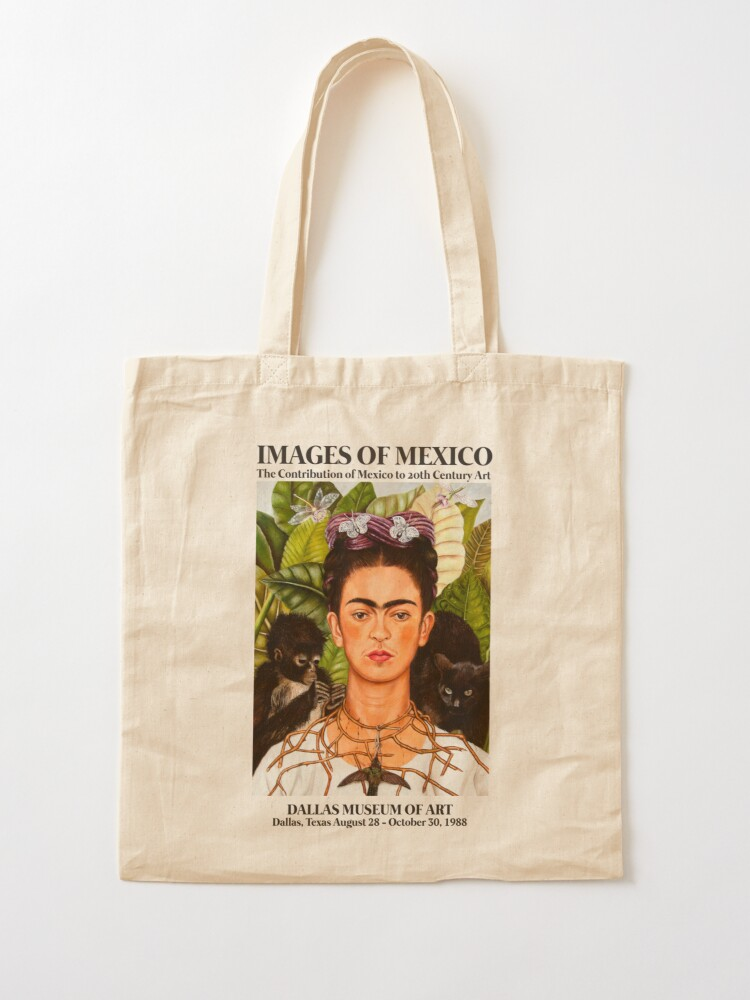 """Alternate view of Frida Kahlo Exhibition Art Poster - """"Self-Portrait with Thorn Necklace and Hummingbird"""" 1988 Tote Bag"""