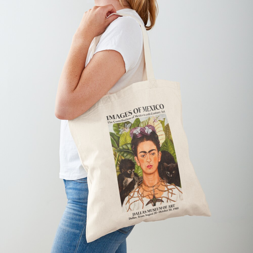 """Frida Kahlo Exhibition Art Poster - """"Self-Portrait with Thorn Necklace and Hummingbird"""" 1988 Tote Bag"""