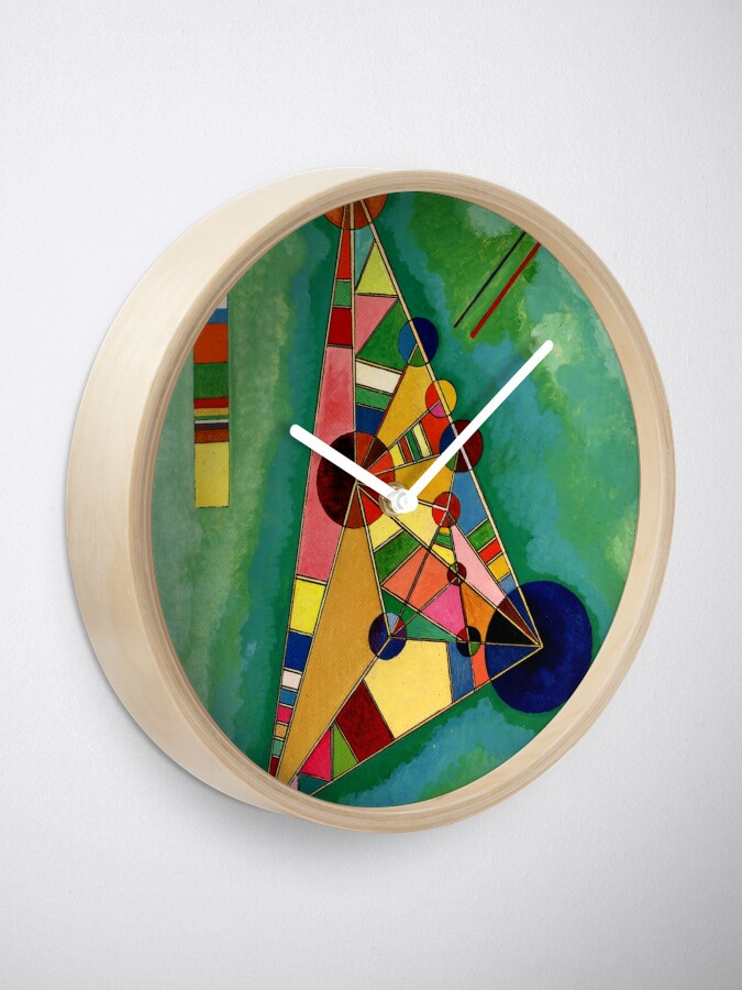 Alternate view of Kandinsky - Multicolored Triangle, abstract art Clock