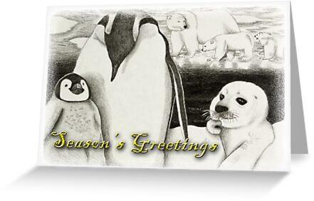 Season's Greetings Arctic Animals by jkartlife