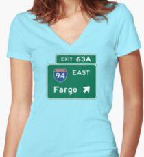 Fargo, Road Sign, North Dakota Women's Fitted V-Neck T-Shirt
