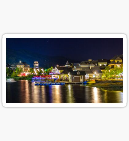 Blue Mountain Village at night Sticker