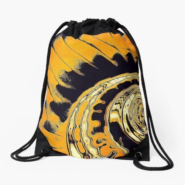 Chaotic Orange Abstract Drawstring Bag