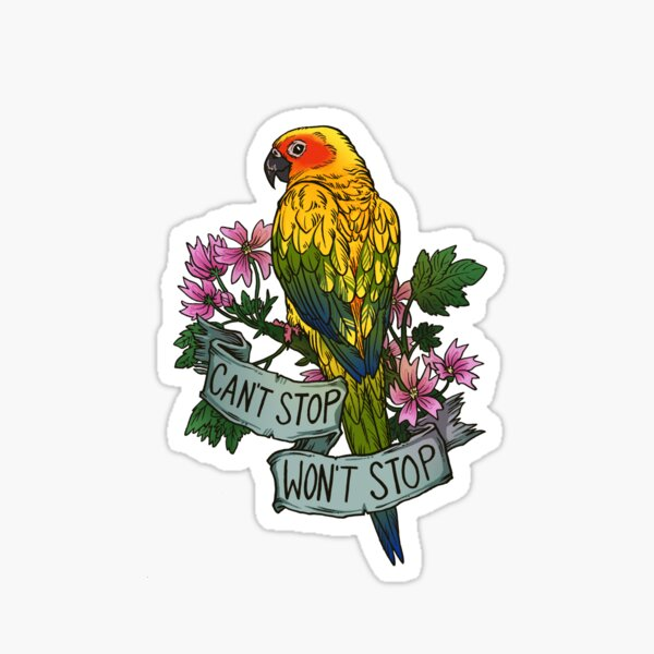 Can't Stop; Won't Stop (sun conure) Sticker