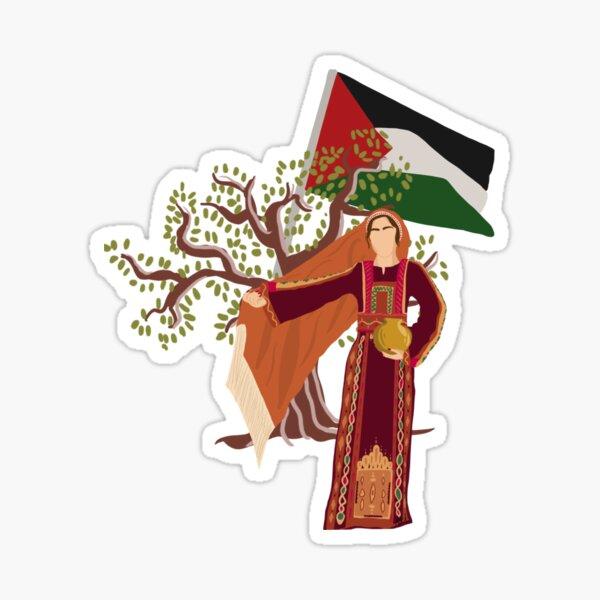 Drapeau de la Palestine et Olivier avec fille à Thobe Sticker