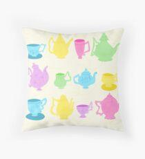 Alice in Wonderland Tea Set Throw Pillow