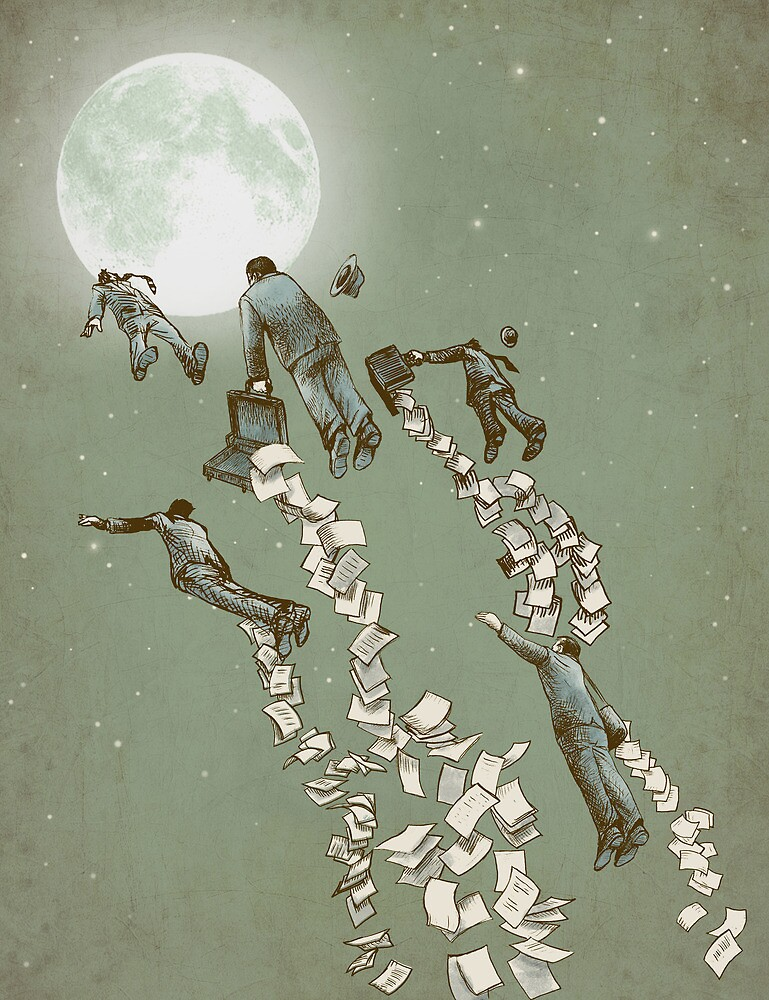 Flight of the Salary Men (color option) by Eric Fan