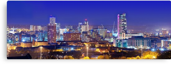 Quot Leeds Skyline At Night Quot Canvas Prints By Ian Wray Redbubble
