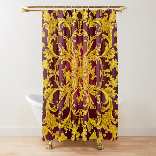 Rococo Kaleidoscopic Burgundy and Gold print Shower Curtain