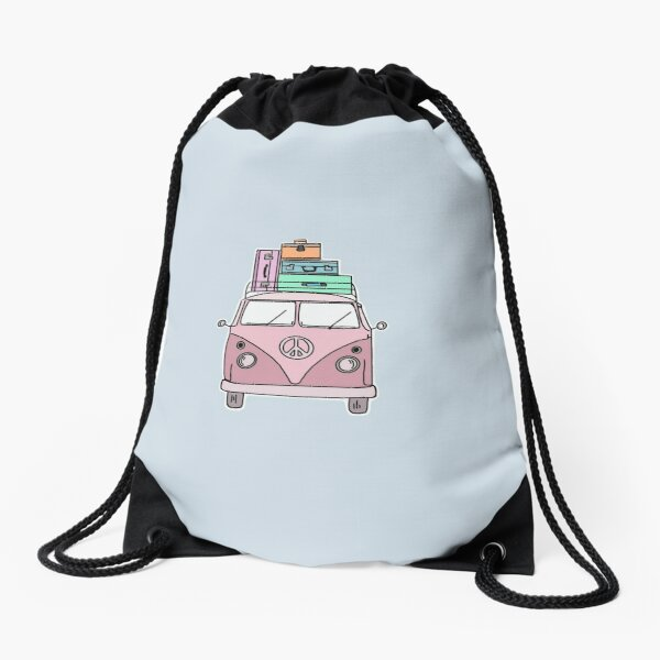Pink adventure van Drawstring Bag