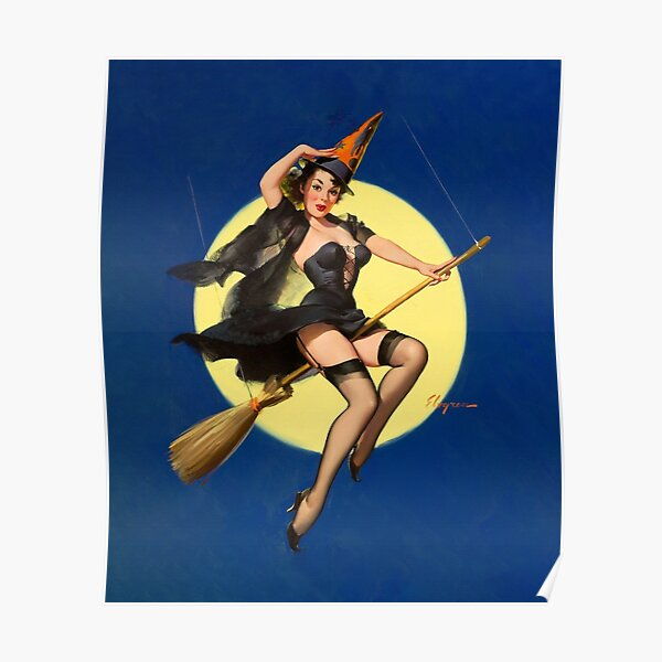 Vintage Halloween Pin-Up Poster
