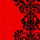 Black & Red Floral Vintage Damasks Design by artonwear