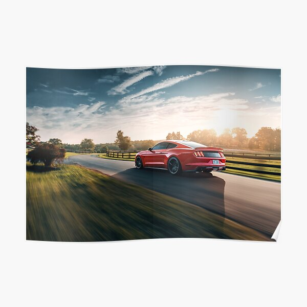 Mustang Sunset Poster