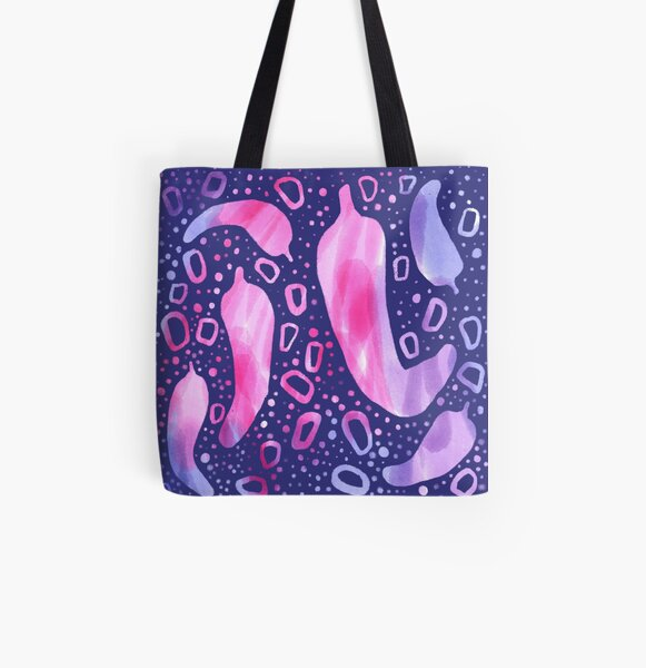 Modern Watercolor Chili Peppers in Pink and Purple All Over Print Tote Bag