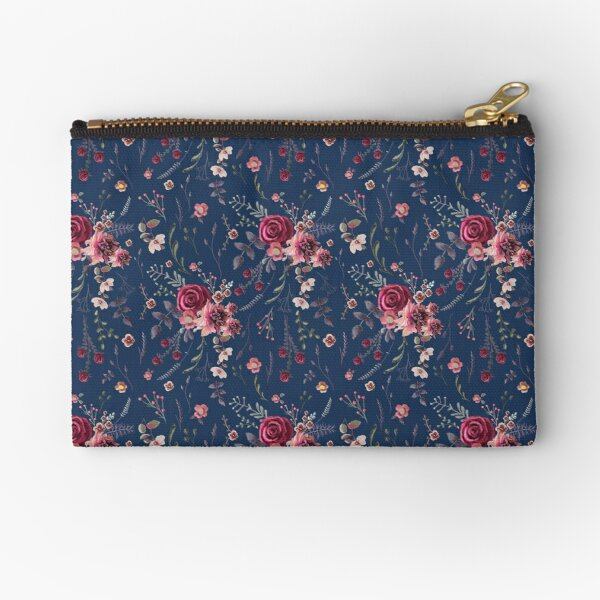 Autumn Florals Navy Tatra Cottage Zipper Pouch