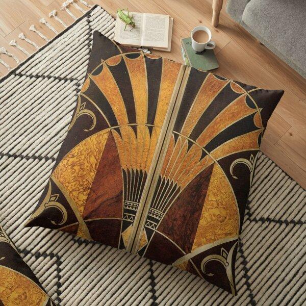Art nouveau, art deco, vintage,elegant,chic,pattern,gold,wood,black,bronze,silver,beige Floor Pillow