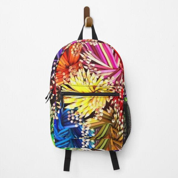 Colorful Pencils Purple Blue Yellow Green Red Brown Black Orange Pink White School Education Paint Design Creation Backpack
