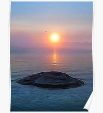 Fishing Cone in Yellowstone Lake at Sunrise Poster