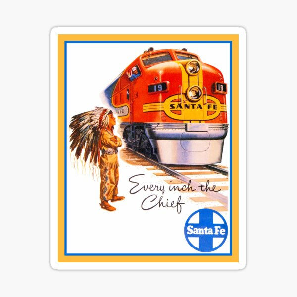 Santa Fe Chief train streamliner ad retro vintage Sticker