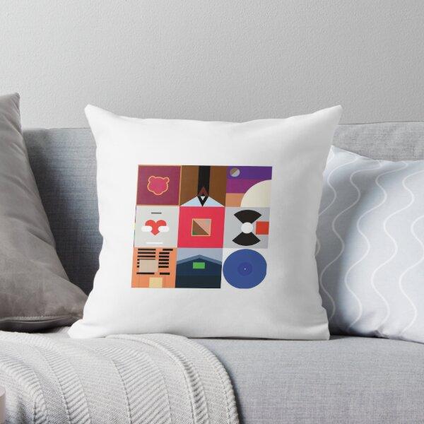 KANYE WEST STICKERS 'MINIMALIST ALBUM COLLAGE' Throw Pillow