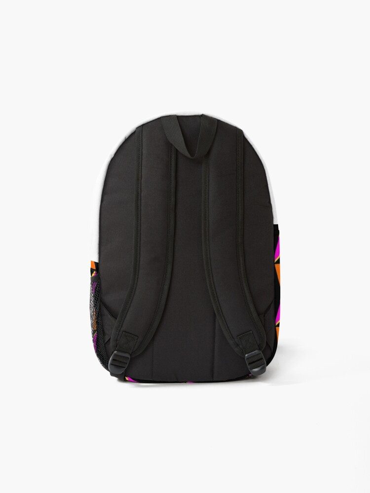 Alternate view of 80s colourful geometric triangles pattern black background Backpack