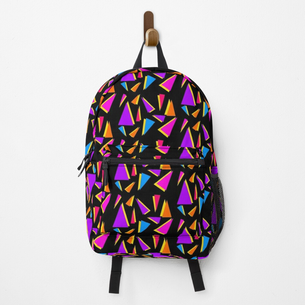 80s colourful geometric triangles pattern black background Backpack