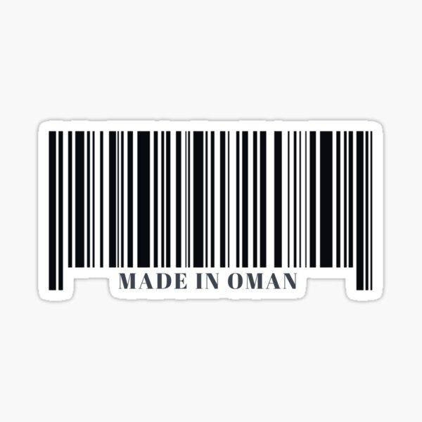 Made in Oman Black Barcode Sticker