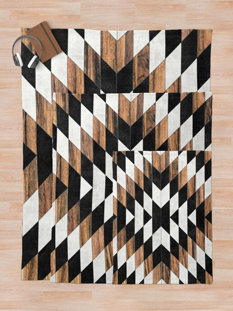 Alternate view of Urban Tribal Pattern No.13 - Aztec - Concrete and Wood Throw Blanket