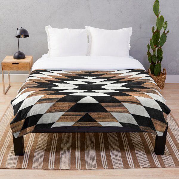 Urban Tribal Pattern No.13 - Aztec - Concrete and Wood Throw Blanket