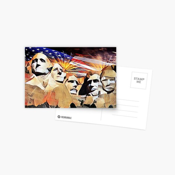 Mt Rushmore 4th of July Postcard