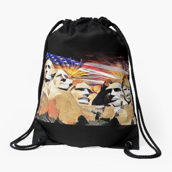 Mt Rushmore 4th of July Drawstring Bag