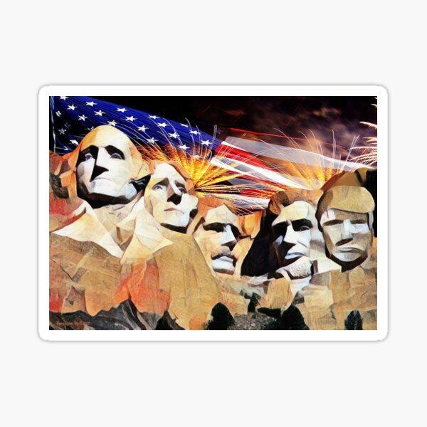 Mt Rushmore 4th of July Sticker