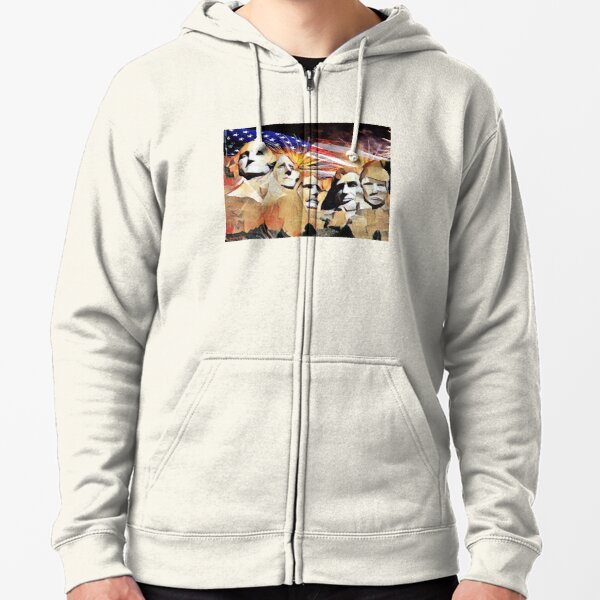 Mt Rushmore 4th of July Zipped Hoodie