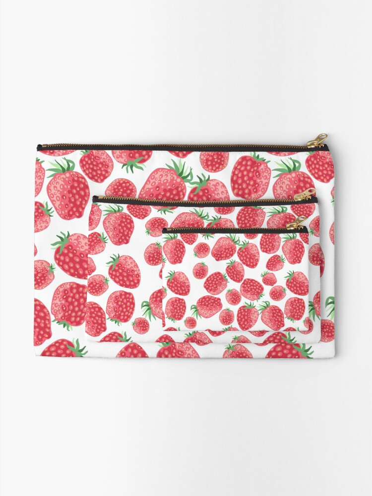 Alternate view of Strawberry pattern Zipper Pouch