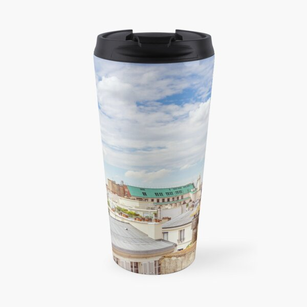 View of Eiffel Tower over Paris rooftops color photography Travel Mug