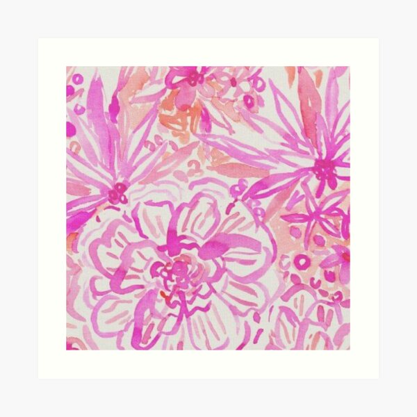 lilly pulitzer pink floral print  Art Print