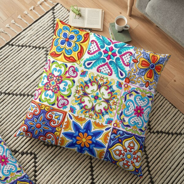 Iberian Mosaic Multicolor Floor Pillow