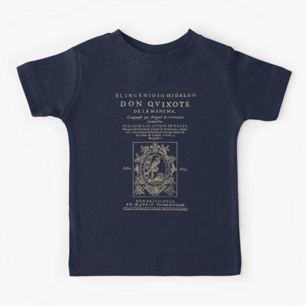 Cervantes, Don Quijote de la Mancha. Versión de ropa oscura Camiseta para niños