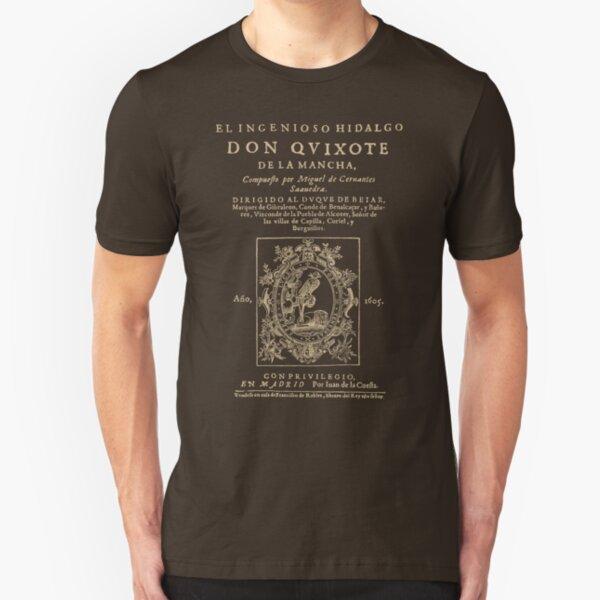Cervantes, Don Quijote de la Mancha. Versión de ropa oscura Camiseta ajustada