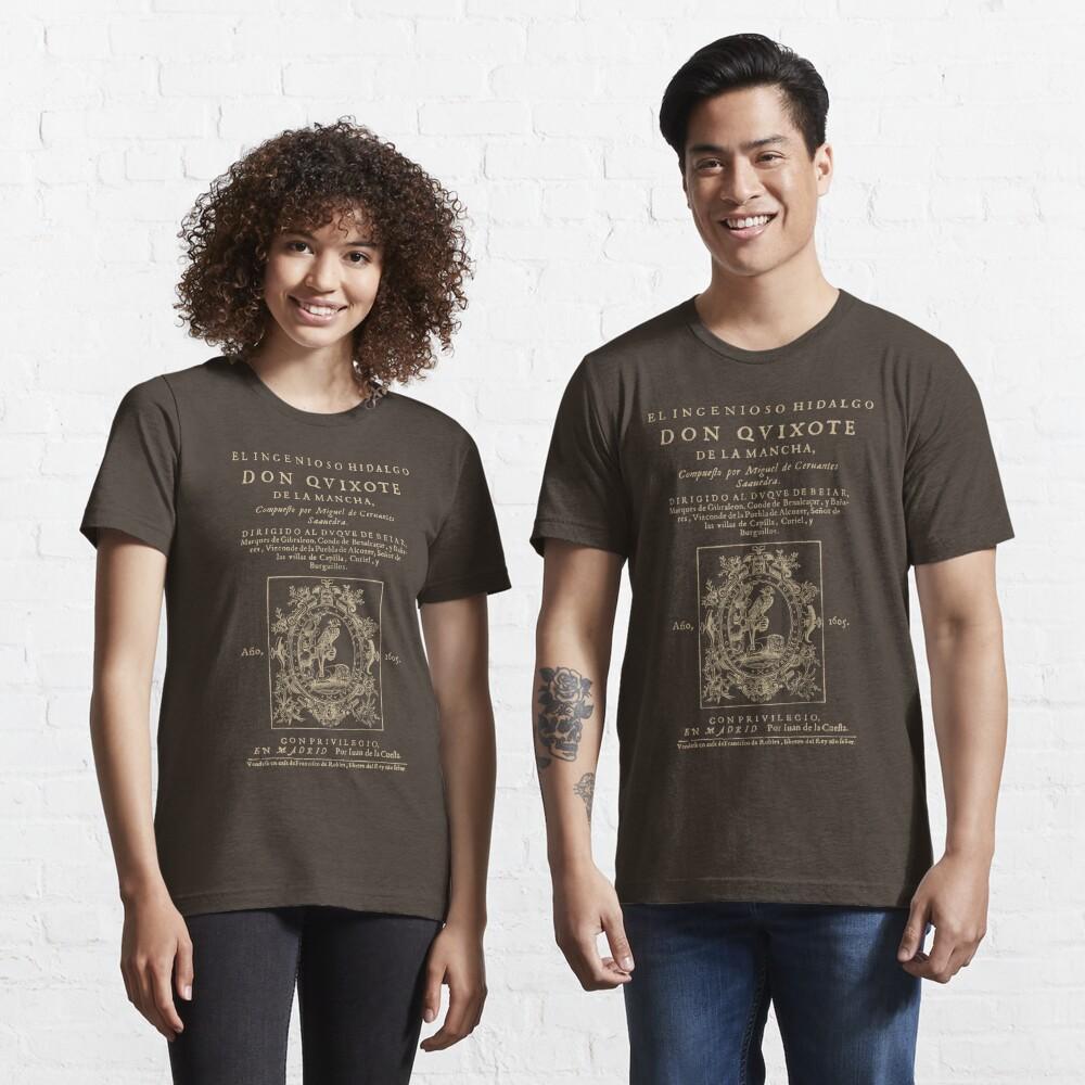 Cervantes, Don Quijote de la Mancha. Versión de ropa oscura Camiseta esencial