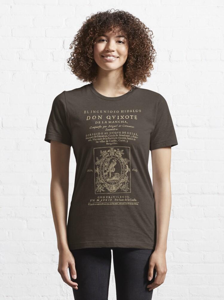 Vista alternativa de Camiseta esencial Cervantes, Don Quijote de la Mancha. Versión de ropa oscura