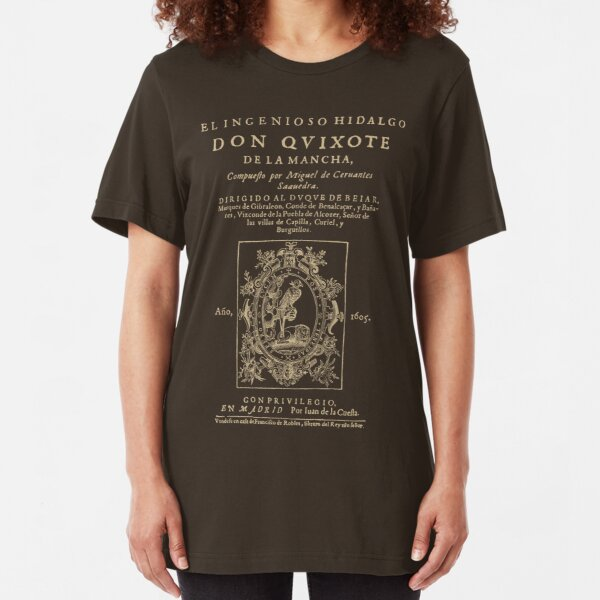 Cervantes, Don Quijote de la Mancha. Dark clothes version Slim Fit T-Shirt